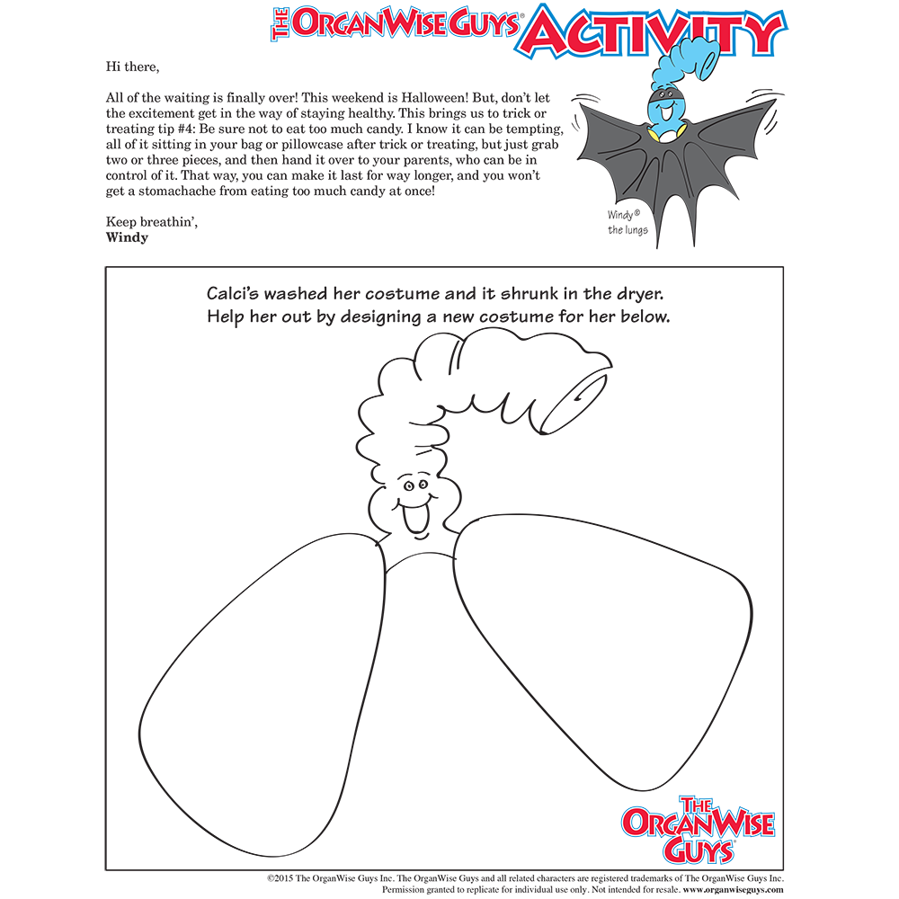 Avoid Eating Too Much Candy On Halloween Activity Sheet - OrganWise Guys