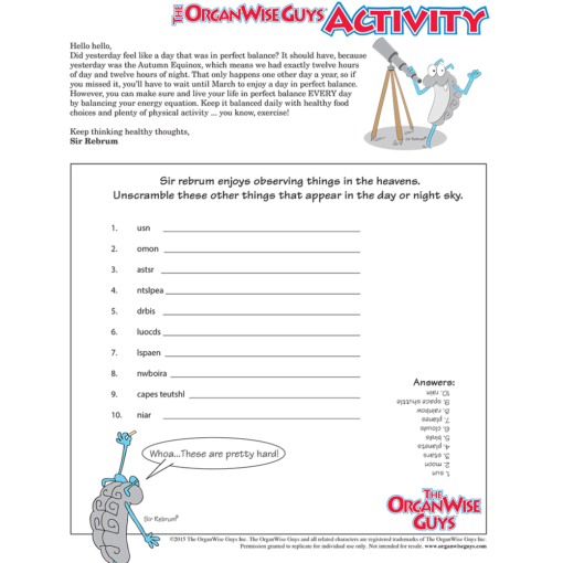 Energy Balance for Kids Activity Sheet - OrganWise Guys