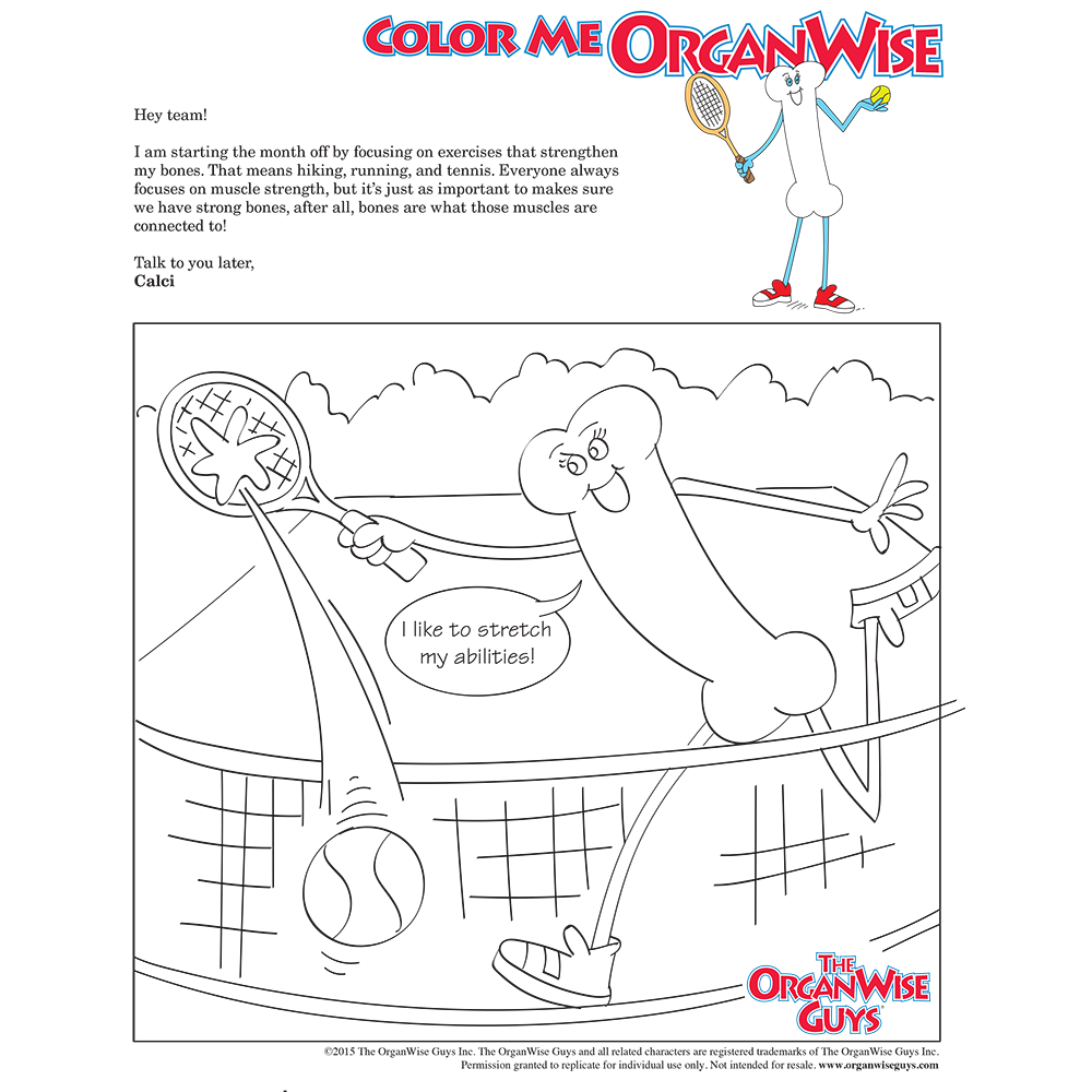 Exercise for Bone Health Coloring Page - OrganWise Guys