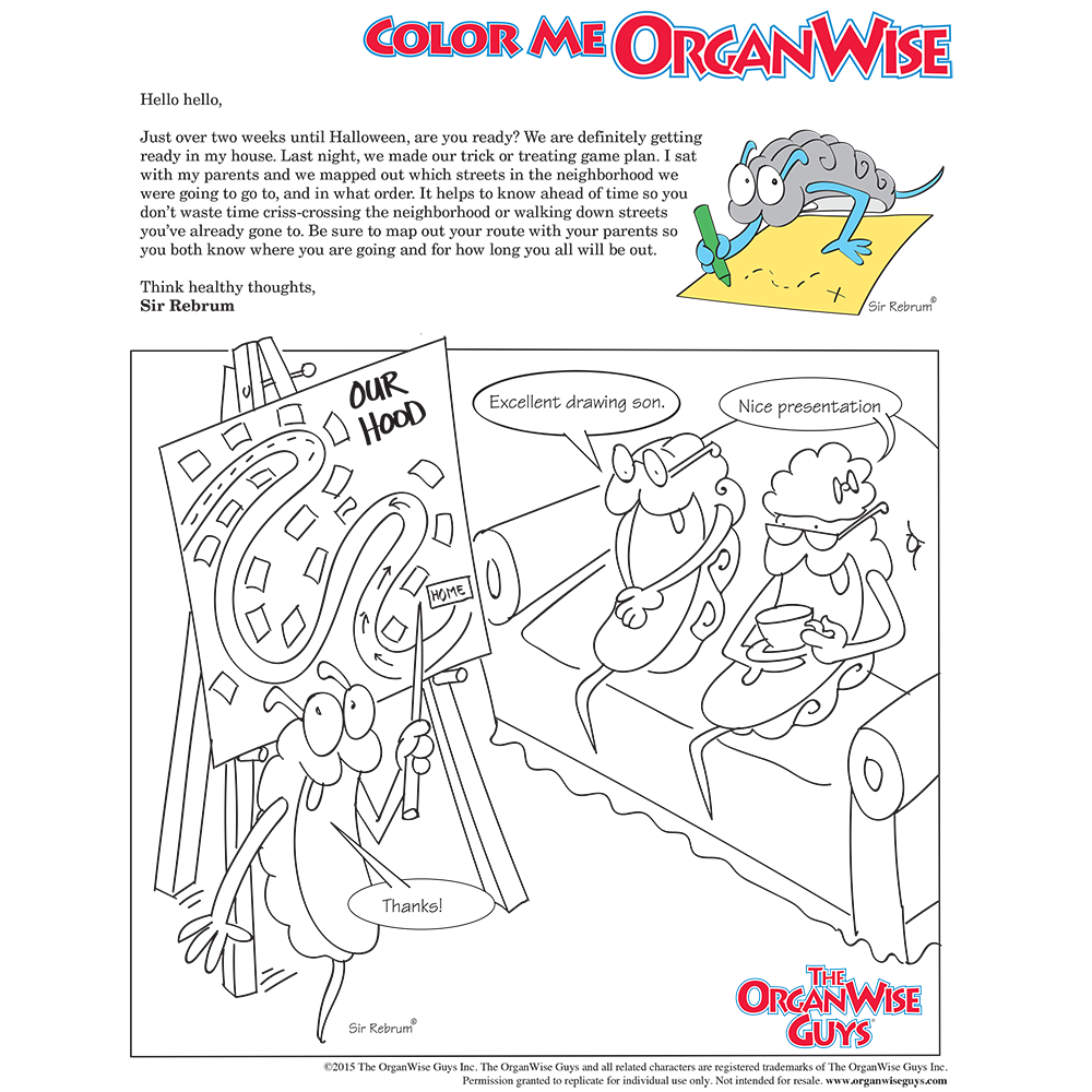 Halloween Safety Tip Coloring Page - OrganWise Guys