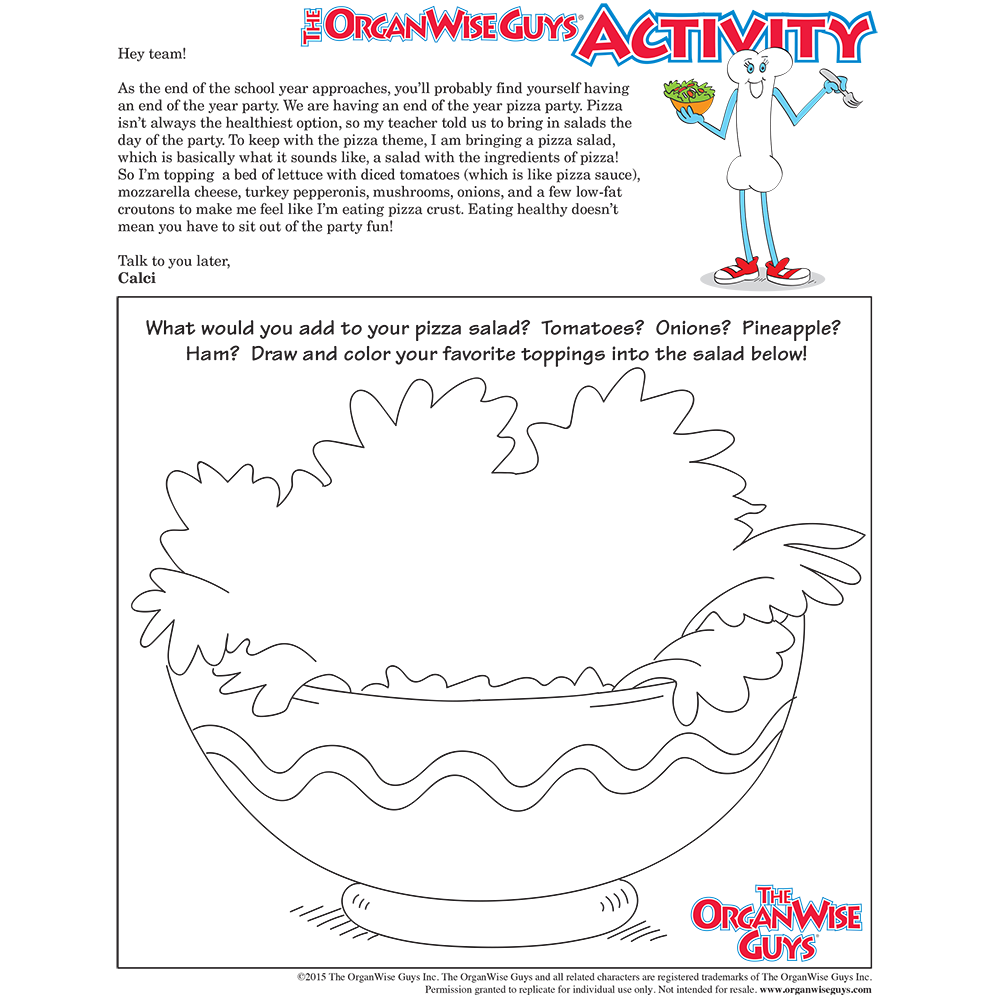 Healthy Party Food for Kids Activity Sheet