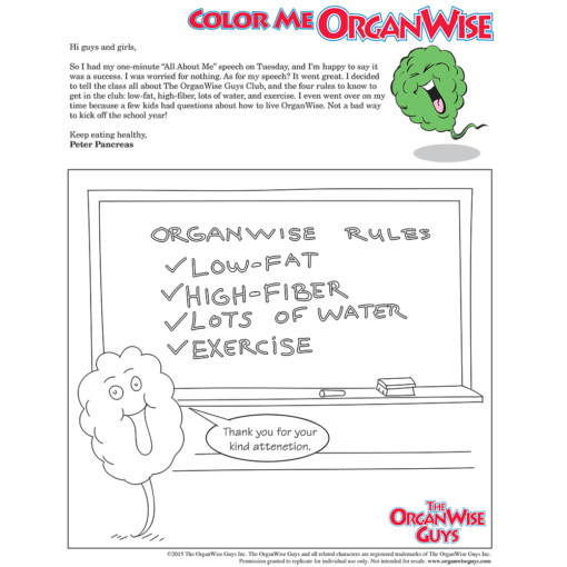 Public Speaking Anxiety Solved Coloring Page - OrganWise Guys