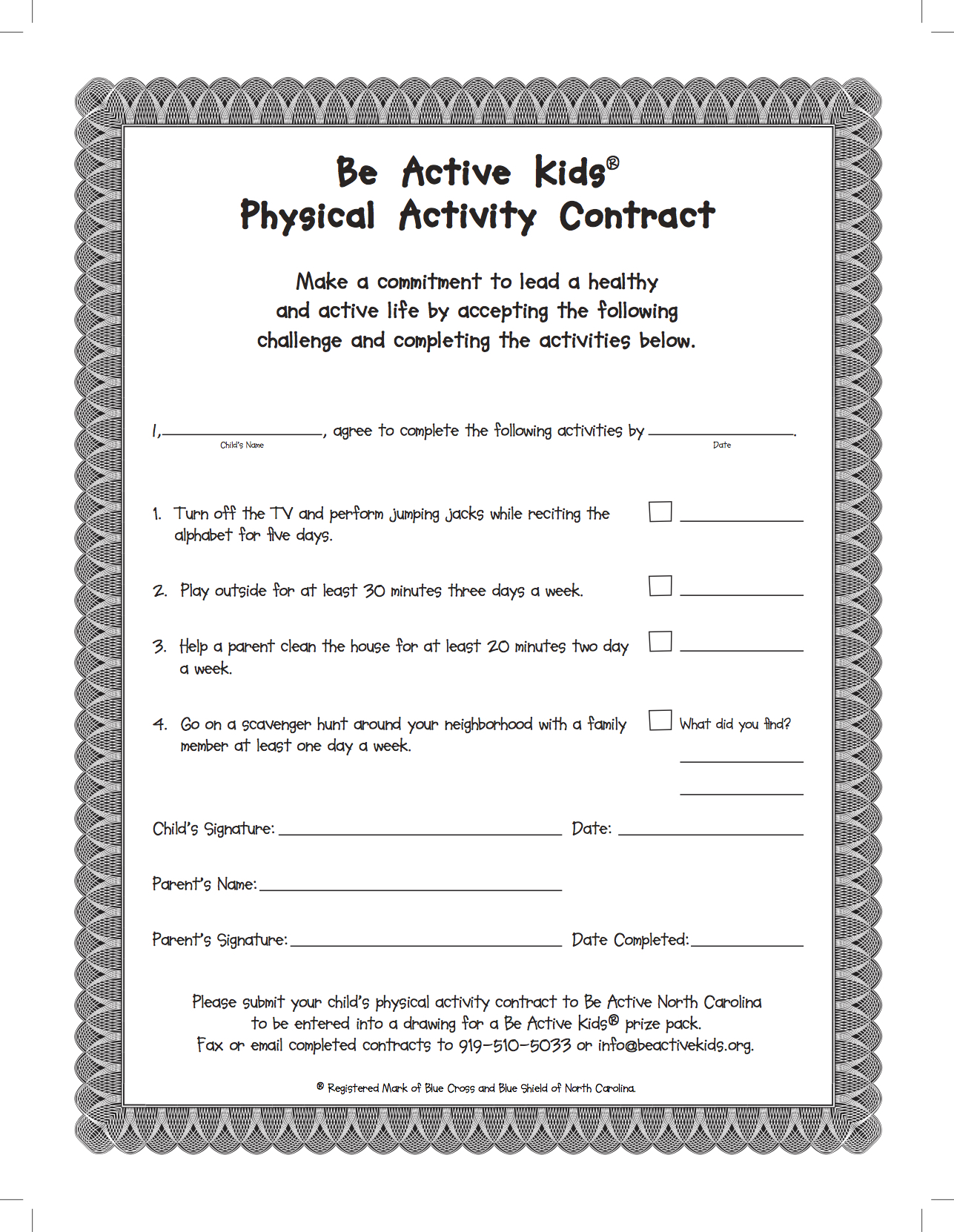 Be Active Kids - Contract