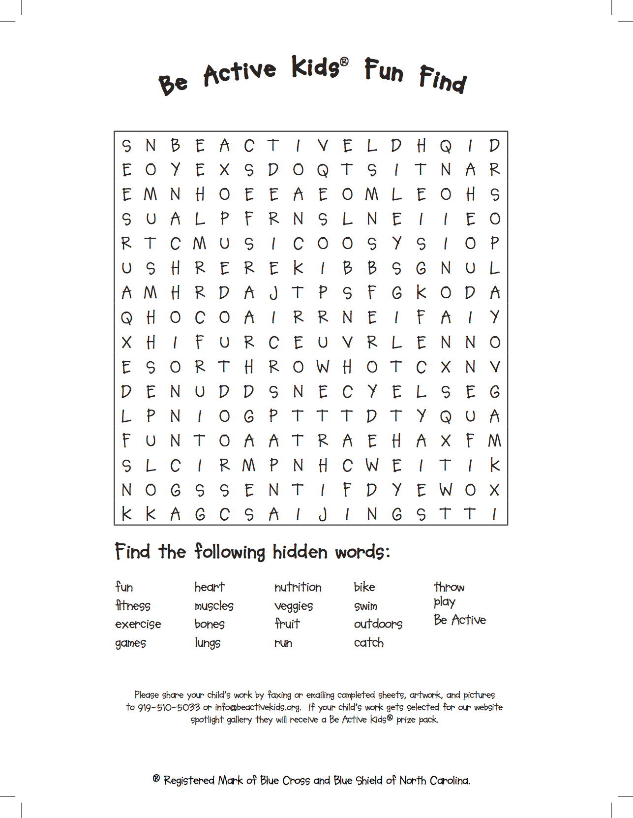 Be Active Kids - Word Search-JPG