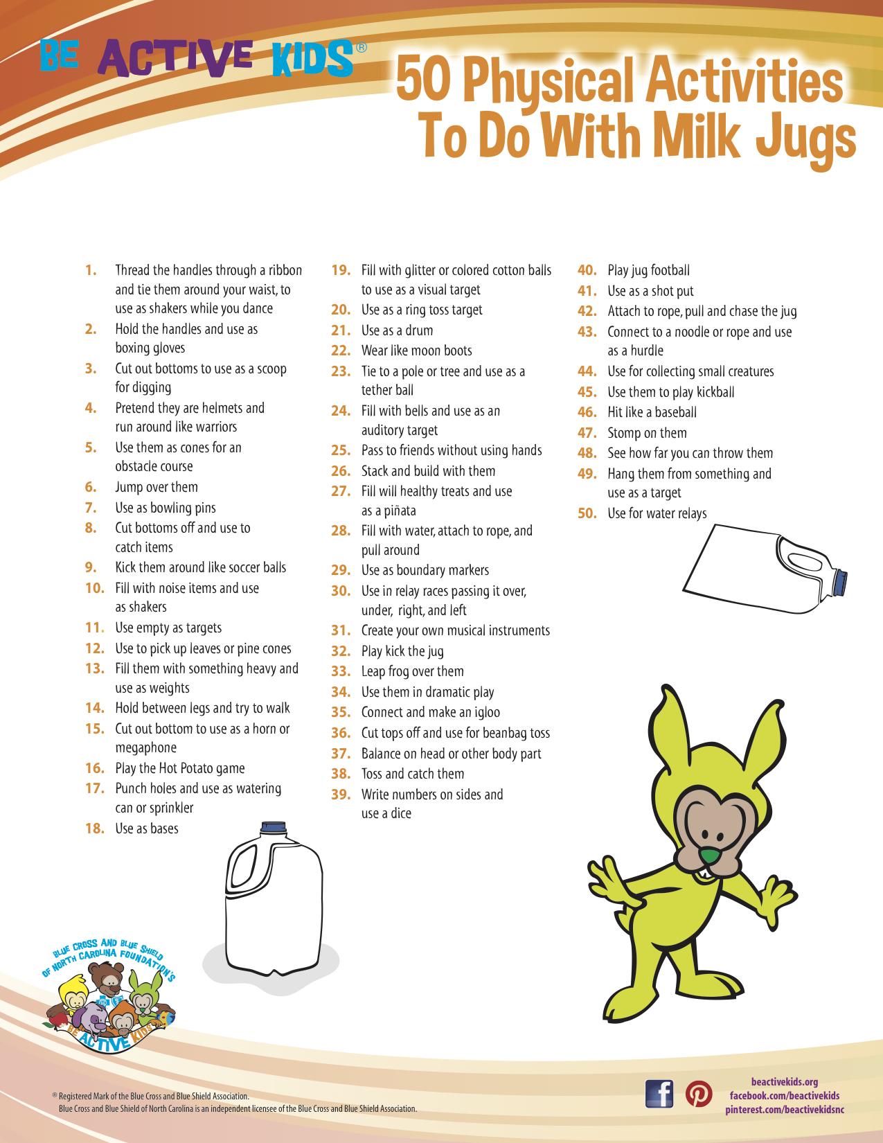 Be Active Kids - 50 Things Milk Jug