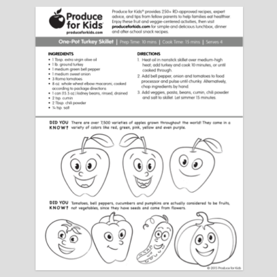 Produce For Kids – Activity Sheet with Recipe Free!